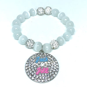 Round Crystal Jack and Jill Charm Bracelet - White
