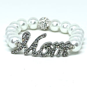 Crystal Jack and Jill Mom Bracelet - White Pearls