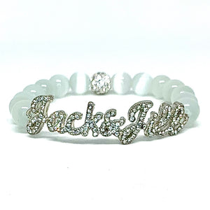 Jack & Jill Crystal Script Bracelet - White Cat's Eye