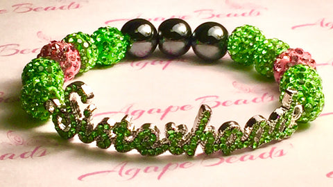 Alpha Kappa Alpha Green Crystal Sisterhood Bracelet