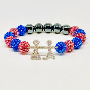 Crystal Jack and Jill Boy and Girl Bracelet