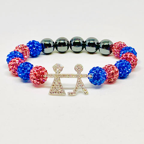 Crystal Jack & Jill Boy and Girl Bracelet