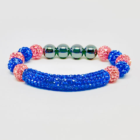 Light Blue Jack & Jill Crystal Bar Bracelet