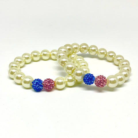 Pearl Jack & Jill Bracelet Set with Pink and Light Blue Crystal Balls