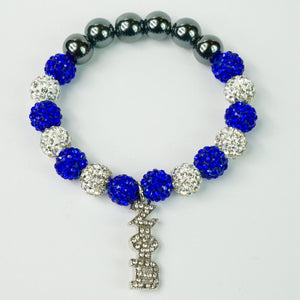 Zeta Phi Beta Clear Crystal Hanging ΖΦB Bracelet