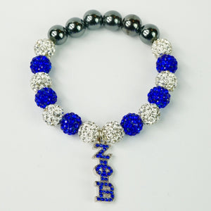 Zeta Phi Beta Blue Crystal Hanging ΖΦB Bracelet