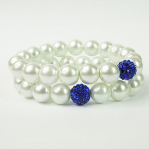 Zeta Phi Beta Pearl Bracelet Set with Blue Crystal Balls
