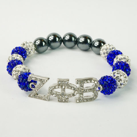 Zeta Phi Beta Clear Crystal ΖΦB Bracelet