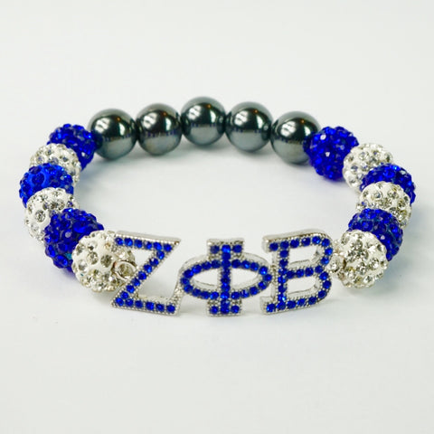 Zeta Phi Beta Blue Crystal ΖΦB Bracelet