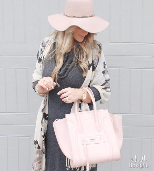 Blush Wool Floppy Hat