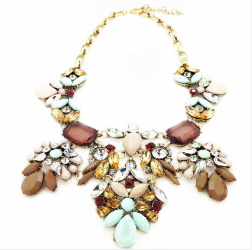 Icy Blue & Brown Jeweled Statement Necklace