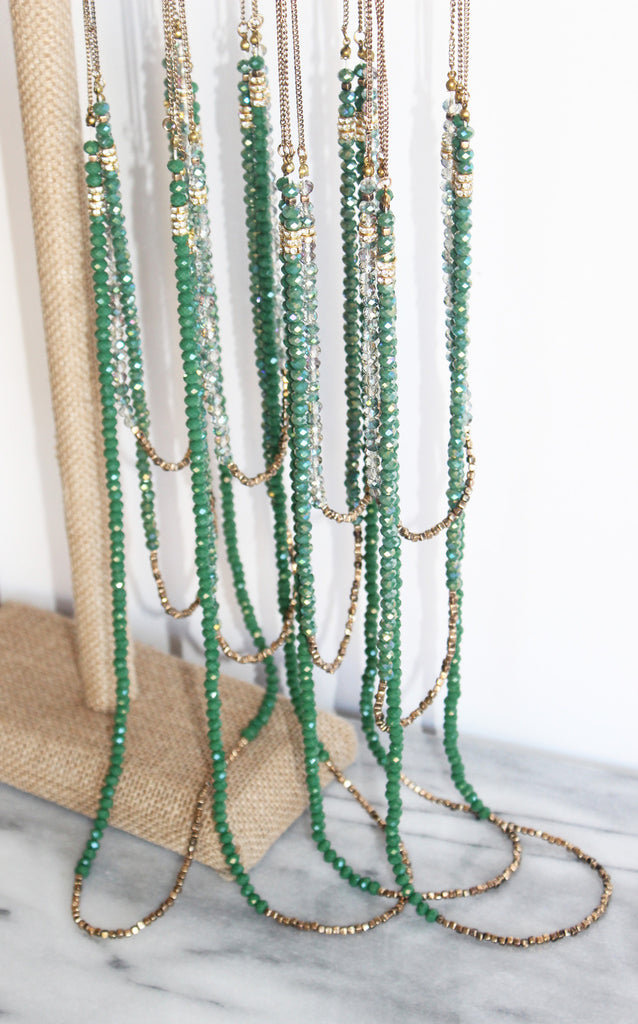 Long Sparkly Emerald Beaded Necklace