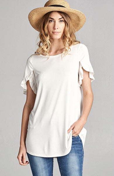 Ruffle Waterfall Sleeve Blouse