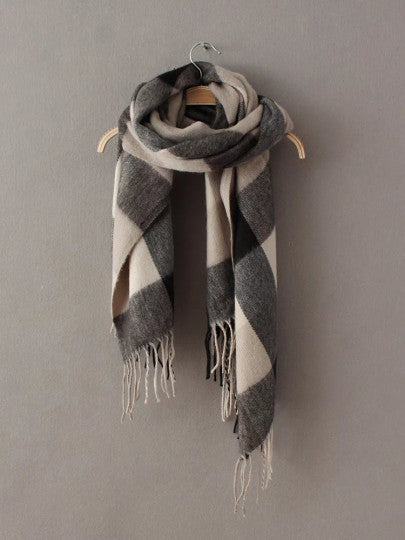 Grey & Beige Plaid Blanket Scarf