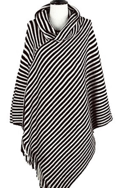 Black & White Striped Poncho