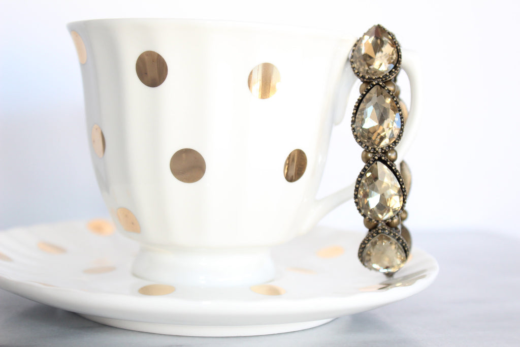 Antique Gold Teardrop Rhinestone Stretch Bracelet