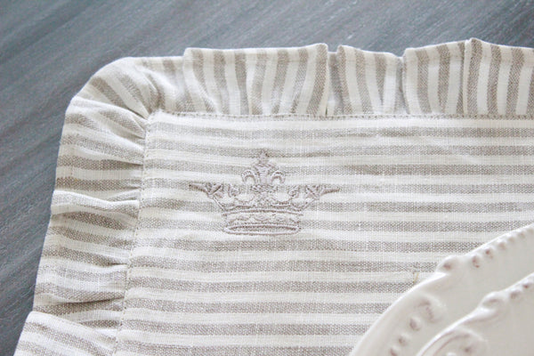 Striped French Linen Ruffle Crown Placemats