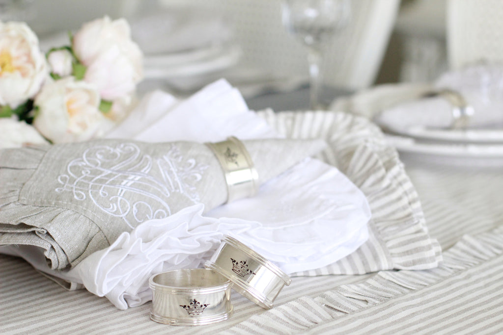 Silver Crown Engraved Napkin Ring Set