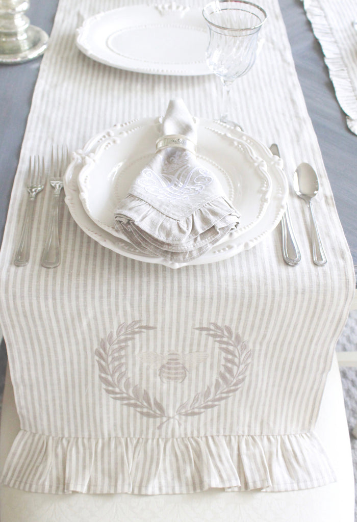 Striped Ruffle Linen Table Runner with Bee & Laurel Wreath