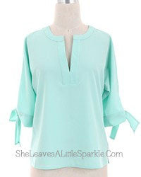 """So Classy"" Blouse with Bow Sleeves"
