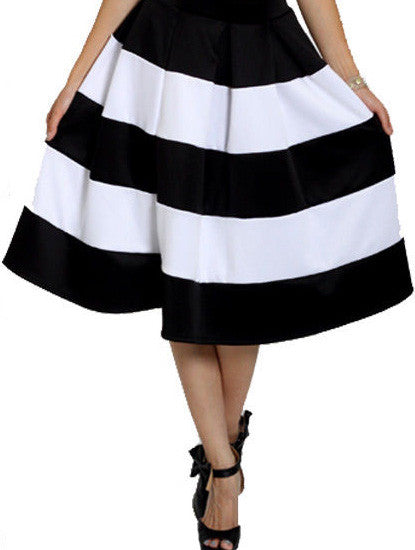 Black & White Striped A-line Skirt