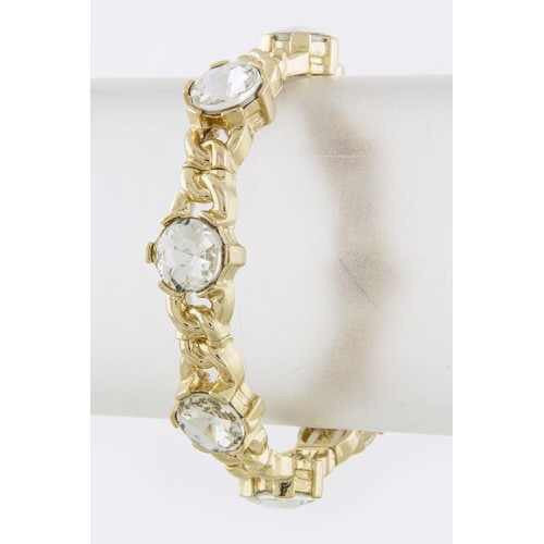 Round Crystal Gold Stretch Bracelet