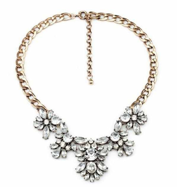 Glam Rhinestone Bib Necklace