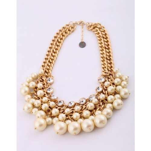 Designer Pearl & Rhinestone Gold Necklace