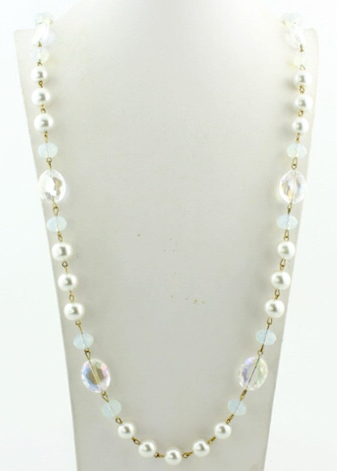 Long Irridescent Pearl Necklace