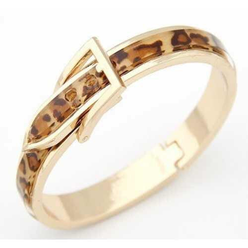 Gold Leopard Buckle Bangle