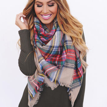 Tan Plaid Blanket Scarf