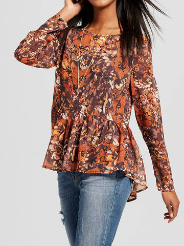 Long Sleeve Peplum Blouse