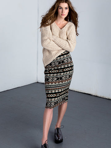 Midi Knit Pencil Skirt