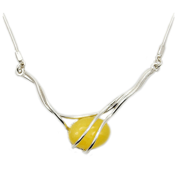 Elegant Sterling Silver Natural Butterscotch Baltic Amber Necklace