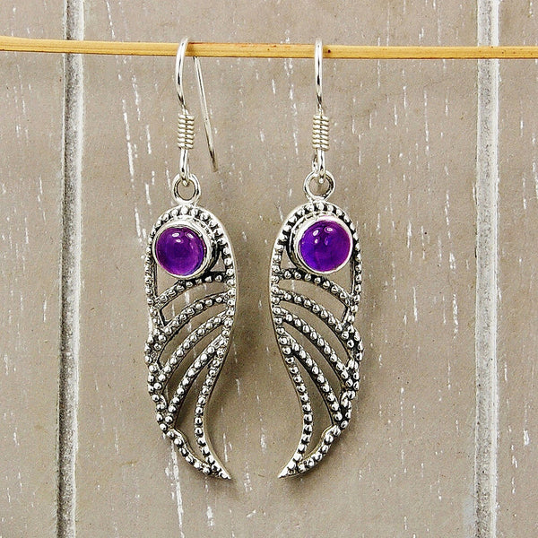 'Angelic Wings' Sterling Silver Amethyst Dangle Earrings