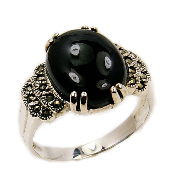 'New Moon' Sterling Silver Black CZ, Marcasite Ring, Size 7.5 - The Silver Plaza