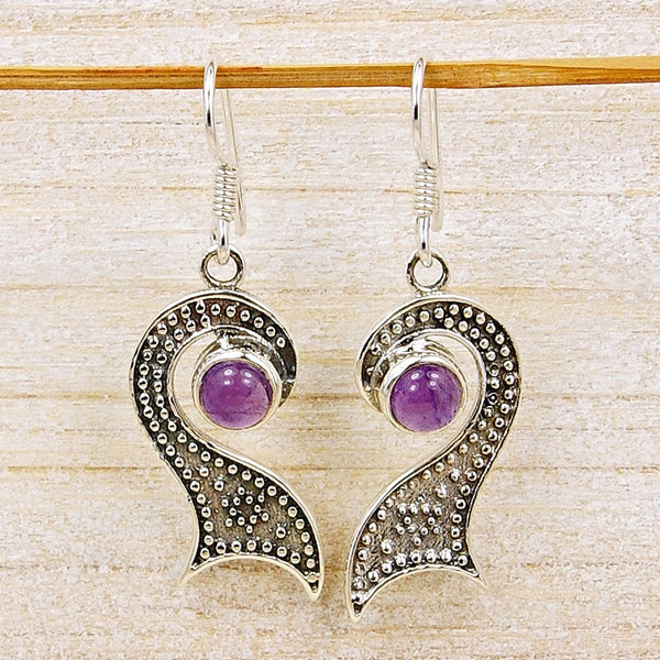 'Midnight Kiss' Amethyst & .925 Sterling Silver Earrings - The Silver Plaza