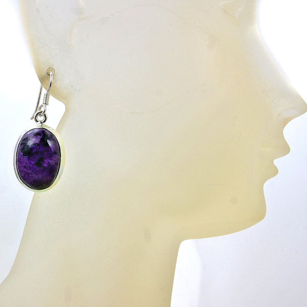 Purple Queen Charoite & Sterling Silver Earrings - Emavera - 1