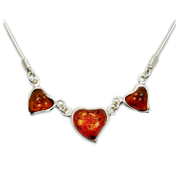Sweet Hearts Sterling Silver Baltic Amber Necklace