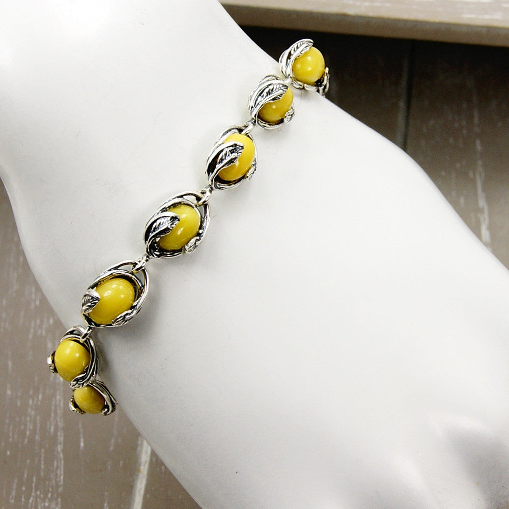Elegant Leaves Butterscotch Baltic Amber & Sterling Silver Bracelet - The Silver Plaza