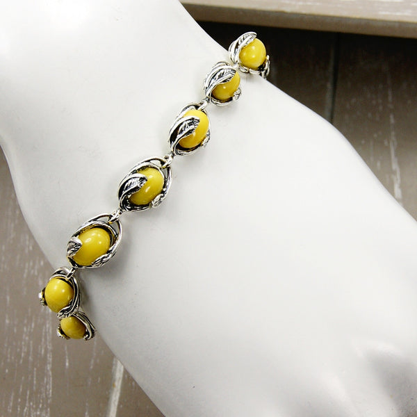 Elegant Leaves Butterscotch Baltic Amber & Sterling Silver Bracelet