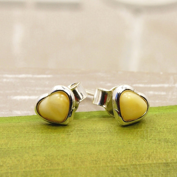 Cute Little Hearts Sterling Silver Butterscotch Baltic Amber Stud Earrings - The Silver Plaza