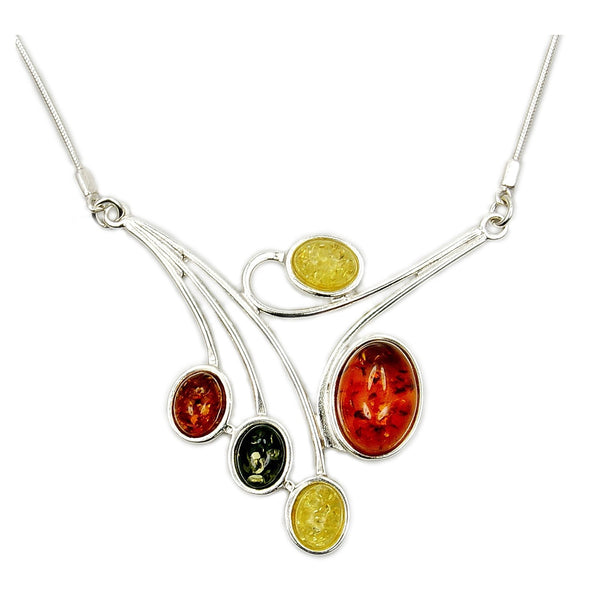 Temptress Sterling Silver Natural Baltic Amber Necklace - The Silver Plaza