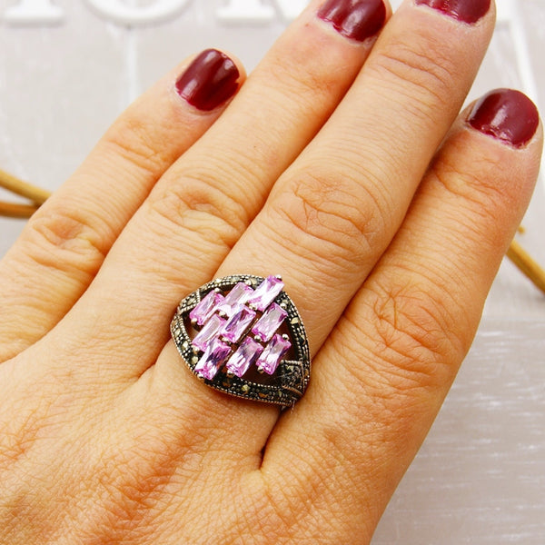 Large Pink CZ, Marcasite & Sterling Silver Ring, Size 5.75 - Emavera - 1