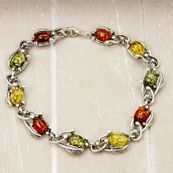 The Secret Garden Baltic Amber & Sterling Silver Bracelet - Emavera