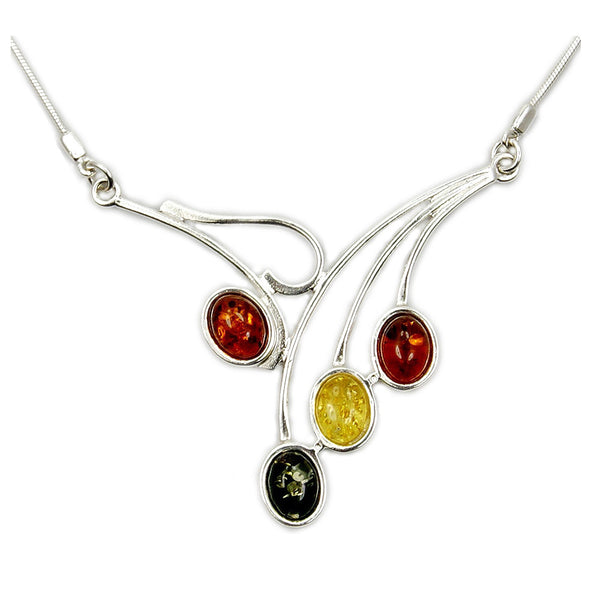 Falling Leaves Sterling Silver Natural Baltic Amber Necklace