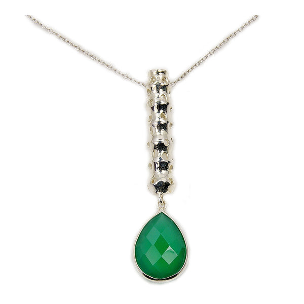Teardrop Green Onyx & .925 Sterling Silver Necklace - The Silver Plaza