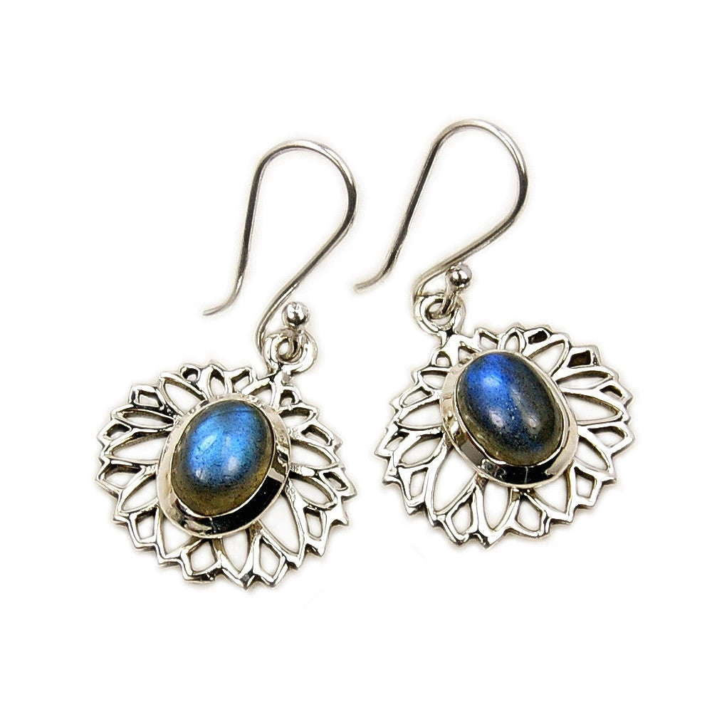'Mystic Princess' Sterling Silver Labradorite Dangle Earrings - The Silver Plaza