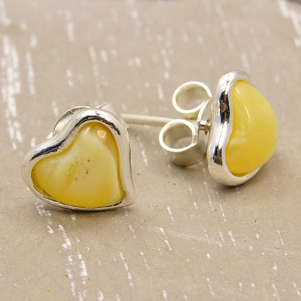 Cute Hearts Sterling Silver Butterscotch Baltic Amber Stud Earrings - The Silver Plaza