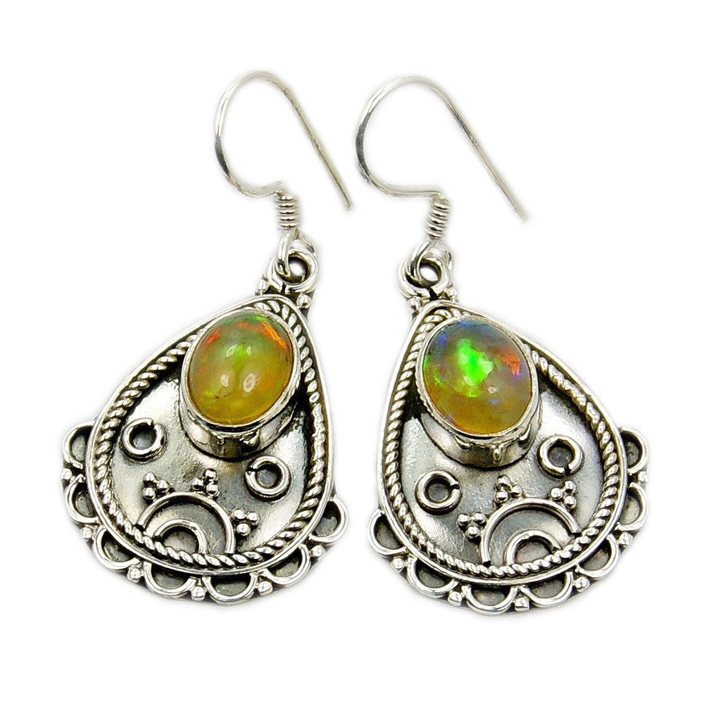 'Eternal Flame' Ethiopian Opal & Sterling Silver Earrings - The Silver Plaza